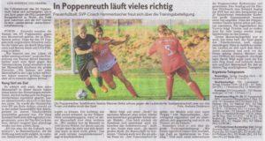 Bericht über unsere Fussball-Damen in der Fürther Nachrichten (23.10.2018)